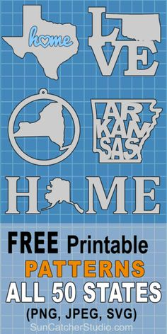 State Outlines, Maps, Stencils, Patterns, Clip Art (All 50 States) - Sweet potato recipes - Cricut Vinyl, Cricut Fonts, Cricut Air, Cricut Craft, Vinyl Crafts, Vinyl Projects, Wood Crafts, Circuit Projects, Shilouette Cameo