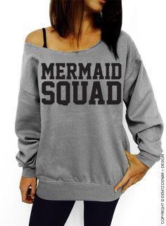 "Use coupon code ""pinterest"" Mermaid Squad - Gray Slouchy Oversized Sweatshirt by DentzDenim"