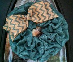Aqua burlap wreath