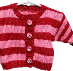 Baby Sweater, Girls, Hand Knit -- JOCELYN STREET -- Pink and Red Striped Cardigan -- Childrens Clothing -- Perfect for Baby Showers. $65.00, via Etsy.