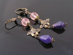 Thinking Angel Earrings Pink and Purple Czech by WedunitJewels
