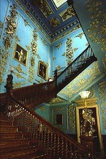 "Powderham Castle Georgian Rococo...staircase filmed in ""Remains of the Day"". Stunning combination of natural light and beautiful color,"