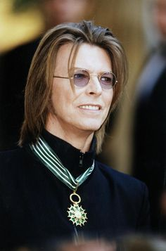 David Bowie after receiving the French medal for Commander of Arts and Letters…