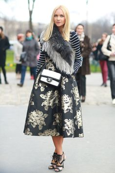 street style: Paris Fashion Week Fall 2014... Say hello to the prettiest stripes and floral pattern play.  Source: Tim Regas