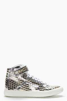 Pierre Hardy Metallic Silver Patent Leather Cube Print High-top Sneakers for men | SSENSE