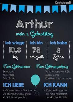Arthur 1. Geburtstag www.kreidezeit.co.at 1st Birthday Memory chalkboard