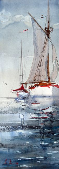 :: Art :: Watercolor :: Anders Andersson - live the color scheme Art Watercolor, Watercolor Landscape, Boat Art, Watercolor Techniques, Painting Inspiration, Amazing Art, Sailing, Art Gallery, Fine Art