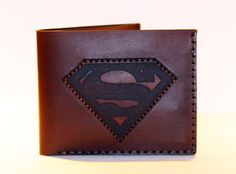 Leather wallet with superman logo brown wallet great by LANDALV