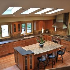 Cherry Wood Curved Kitchen Cabinets Design, Pictures, Remodel, Decor and Ideas