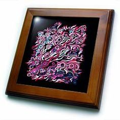 """Abstract tree roots in red blue pink on black background - 8x8 Framed Tile by Jaclinart. $22.99. Solid wood frame. Cherry Finish. Keyhole in the back of frame allows for easy hanging.. Dimensions: 8"""" H x 8"""" W x 1/2"""" D. Inset high gloss 6"""" x 6"""" ceramic tile.. Abstract tree roots in red blue pink on black background Framed Tile is 8"""" x 8"""" with a 6"""" x 6"""" high gloss inset ceramic tile, surrounded by a solid wood frame with predrilled keyhole for easy wall mounting."""