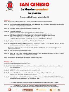 """""""gusta l'arancione: le Marche arancioni in piazza"""" - Programma del Comune di SAN GINESIO"""