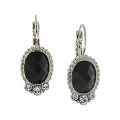 1928 Silver-Tone Black Oval with Crystal Accent Drop Earrings ($20) ❤ liked on Polyvore