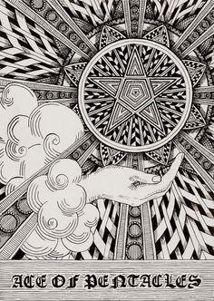 Ace of pentacles zentangle