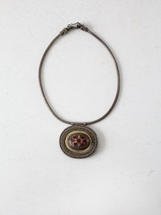 vintage statement necklace / mesh chain pendant by 86Vintage86,