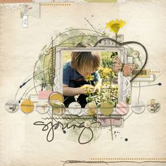 spring scrapbook page from Carolynn at DesignerDigitals.com