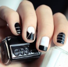 Black and White Nails great for the Holidays