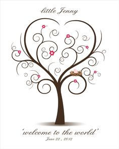 DIY Baby Shower Fingerprint Tree - Printable PDF - Digital Thumbprint Signature Tree with baby bird in the nest. $18.00, via Etsy.