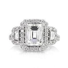 3.26ct Emerald Cut Diamond Engagement Anniversary Ring