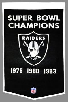 Oakland Raiders Super Bowl Banner offers embroidered Oakland Raider logos, measures feet, is made of thick wool, and has a pole sleeve for hanging. Our Oakland Raiders Super Bowl Banners are officially licensed by the NFL and the Oakland Raiders. Oakland Raiders Football, Nfl Football, Football Stuff, Football Memes, American Football, Football Season, Baseball, Raiders Stuff, Sport
