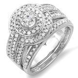 1.10 Carat (ctw) 14K White Gold Real Round Diamond Engagement Halo Bridal Ring Set with Matching Band