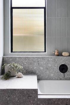 Stirling Terrazzo Look Grey Matt Tile Small Bathroom Interior, Bathroom Windows, Budget Bathroom, Bathroom Renos, Laundry In Bathroom, Modern Bathroom, Classic Bathroom, Minimalist Bathroom, Bathroom Window Glass