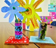 1st grade: (day one) toilet roll, cardboard, glue, paint, (day two) construction paper, crayons, pipe cleaner. Big hit art project using recycled materials.