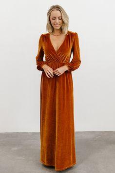 Orange Bridesmaid Dresses, Bridesmaids, Burnt Orange Dress, Velvet Material, Elastic Waist, Nice Dresses, Thighs, Model, How To Wear