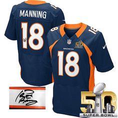 b0e1b6d4ff6 (Elite Nike Men's Peyton Manning Navy Blue C Patch Jersey) Denver Broncos  Alternate NFL Easy Returns.