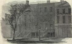 *THE HOUSE WHERE PRESIDENT LINCOLN DIED: View of a portion of 10th Street, opposite Ford's Theatre.  Source: Harper's Weekly