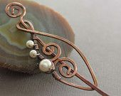 Swirly leaf shawl pin, scarf pin in copper with wrapped white pearls