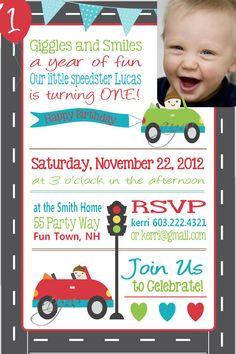 Birthday Party Invitation Cars  First by AsYouWishCreations4u, $14.00