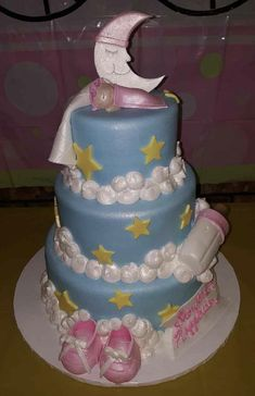 Calumet Bakery Three Tier Fondant Baby Shower Cake Stars and Moon theme