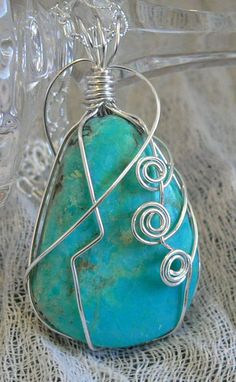 Beautiful Aqua Blue Amazonite Wire Wrapped Pendant by LKSoriginals,
