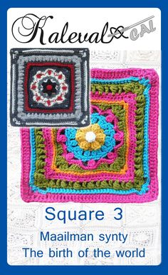 Crochet Squares Design Crochet-along Kalevala CAL. Create your own blanket to celebrate Finland's 100 years of independence. A project by 19 Finnish crochet designers. Square 3 designed by Soile Olmari . Crochet Squares Afghan, Granny Square Crochet Pattern, Tunisian Crochet, Crochet Granny, Granny Squares, Crochet Afghans, Crochet Blankets, Plaid Crochet, Crochet Yarn
