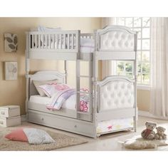 Pearlie Grey/Pearl White Faux Leather/Wood Twin-over-twin Bunk Bed with Optional Trundle | Overstock.com Shopping - The Best Deals on Kids' Beds