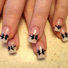 Little bows ~ cute nails Sexy Nails, Love Nails, How To Do Nails, Pretty Nails, Kid Nails, Fancy Nails, Creative Nail Designs, Cute Nail Designs, Creative Nails
