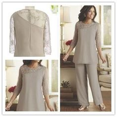 Silver Mother of the Bride Groom Pants Suits Cheap Plus Size Beaded 3 4 Long 6fb173abca8
