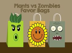 Plants vs Zombies DIY Favor Bag, plants vs zombies Party Bags Printable, plants vs zombies Gift Bag, plants vs zombies Birthday (You print). by AhlamDesigner, $3.00 USD