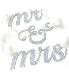 Mr And Mrs Glitter Banner