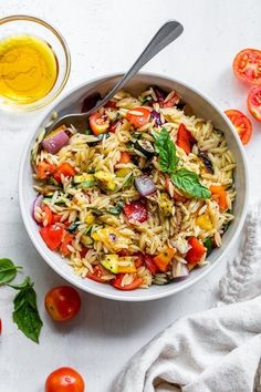 Grilled Vegetable Salads, Vegetable Pasta, Grilled Vegetables, Orzo Pasta Recipes, Pasta Dishes, Veggie Recipes, Healthy Recipes, Lunch Recipes, Dinner Recipes