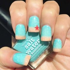 Easy Nail Art Designs - The Ocean - Step By Step, Simple Tutorials For Beginners For Summer, Fall, Spring, and Winter. Ideas For Nailart For Kids, For Toes, DIY, And Classy Ring Finger Ideas With Glitter. Also Some Great Ideas For Flowers, Paint, Stripes, And Black Nails - http://thegoddess.com/easy-nail-art-design