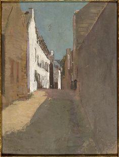 Odilon Redon (Bordeaux, 1840 - Paris, 1916) - Rue à Douarnenez, 1875 - Huile sur papier contrecollé sur carton.
