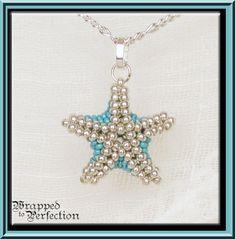 Starfish Necklace / Starfish Pendant / Silver & Aqua / Beaded Starfish / Sea Star / Summer Resort Tropical Beach Mermaid