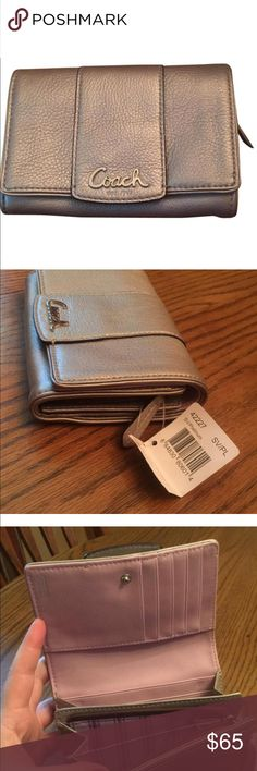 Coach wallet Platinum with lavender liner brand new wallet with tags Coach Bags Wallets