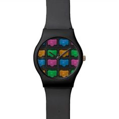 Four Pop Art Cameras Wrist Watch
