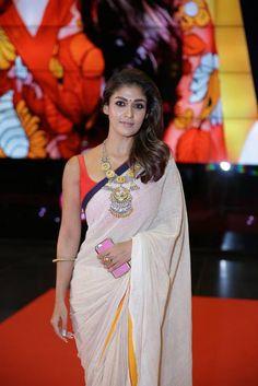 Nayanthara Latest Hot Cleveage Sleveless Traditional Transparent White Saree PhotoShoot Images At SIIMA Awards 2016  actress Nayantara