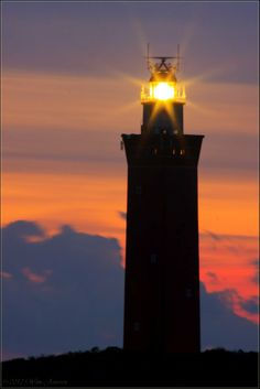 Lighthouse at Ouddorp in the evening, Ouddorp, Netherlands