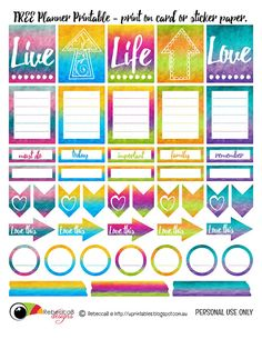 FREE Printable Planner Stickers - Personal Use Only. Print on sticker paper or cardstock. by RebeccaB Designs