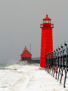 Christopher Kierkus, Winter on the Big Lake (Vertical) Red Gray Lighthouse Water Waves Photography Grand Haven, Michigan Waves Photography, Passion Photography, Winter Photography, Big Lake, Grand Haven, Beacon Of Light, Architecture, Red And White, Beautiful Places