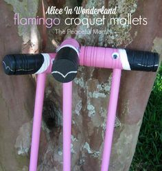 Save money on parties! How to host a super fun themed party without spending a lot of cash. Ours was Alice in Wonderland themed but you can do this with any theme. --from ThePeacefulMom.com (Alice in Wonderland Flamingo Croquet Mallets)